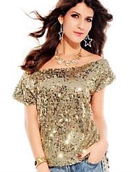 Di Dear-Lover ™ Donne New manica della spalla Paillettes Sexy Fashion T-shirt Tops