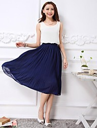 Women's Going out Swing Dress,Color Block Round Neck Knee-length Sleeveless Blue / Pink Summer