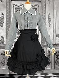 Azul y Negro Escuela de manga larga vestido lolita