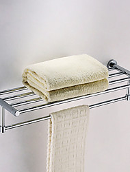 "Solid Brass 24"" Bathroom Shelf with Towel Bar"