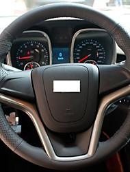 XuJi ™ Black Genuine Leather Steering Wheel Cover for Chevrolet Malibu