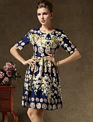Women's Europe  Fashion New Sexy  Floral Print Short Sleeve Dress