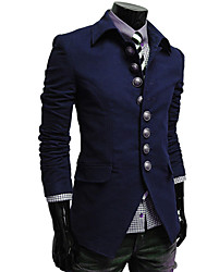 LangTuo Korean Simple Button Stand Collar Jacket(Navy Blue)