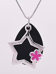 como 925 joyería de plata 15 * estrella colgante epoxi 21mm
