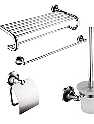 4-packed Contemporary Brass Bath Accessories Set,Towel Bar/Bathroom Shelf/Roll Holder/Brush Holder