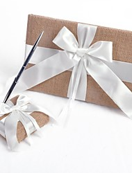 Elegant Linen with White Ribbon Wedding Guest Book and Pen Set Sign In Book