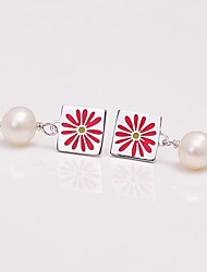 AS 925 Silver Jewelry  Beautiful red with Pearl Square Earrings
