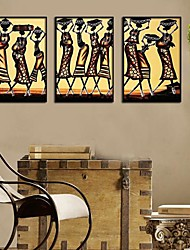 Abstract Black People  Framed Canvas Print Set of 3