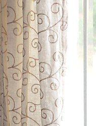 Country Neoclassical European Two Panels Vine White Living Room Curtains Drapes