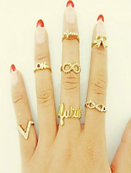 Sweet Women's Gold Alloy Cross Bowknot Midi Rings(7 Pcs)