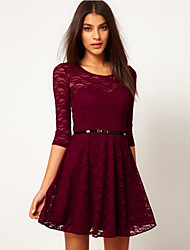 Lace Cut Out Solid Color Dress