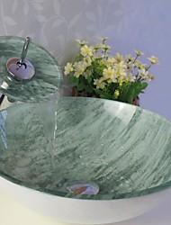 Lavabo Ensemble, verre trempé Évier Avec cascade robinet, anneau de montage et des eaux de drainage