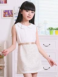 Menina de Vestido Jacquard Algodão Verão Branco