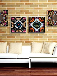 Gorgeous patrón decorativo Art Framed Canvas Set de 4
