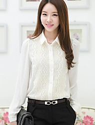 Women's Formal Simple Spring / Summer / Fall Shirt,Solid Shirt Collar Long Sleeve White / Black Opaque / Thin