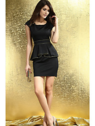 Women's Solid Black/White Dress U Neck Sleeveless Ruffle
