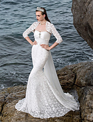 Lanting Bride Trumpet/Mermaid Petite / Plus Sizes Wedding Dress-Court Train Sweetheart Lace / Satin
