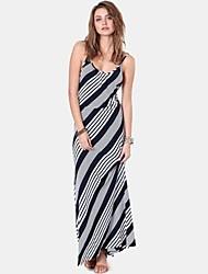 De cuello redondo de la Mujer Diagonal Stripes Sling halter Vestido maxi