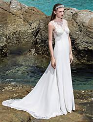 Lan Ting Sheath/Column Plus Sizes Wedding Dress - Ivory Sweep/Brush Train Scoop Chiffon/Stretch Satin