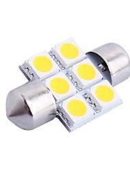 31mm 1.2W 100LM 3000K 6x5050 SMD Warm White LED für Auto Lesen / Kfz-Kennzeichen / Türleuchte (DC12V, 1Stk)