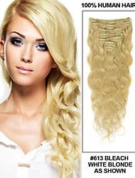 14061724 Blonde Human Virgin Hair Clip in Hair Extensions 24inch