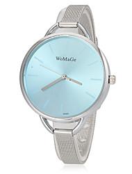 Женская Круглый циферблат тонкий серебряный стальной ленты кварцевые наручные часы (разных цветов)