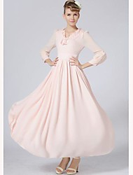 TS V Neck Pleated Dress , Chiffon Midi Long Sleeve