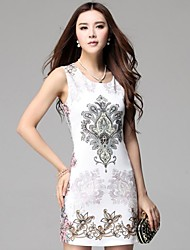 Women's Round Collar European Style Printing Dress
