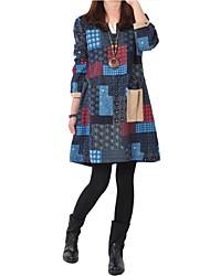 vestido de manga larga con cuello en V geométrica de las mujeres con el bolsillo