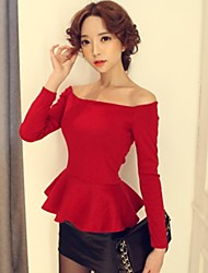 Women's Sexy/Party Off-the-shoulder Long Sleeve T-Shirts (Cotton)