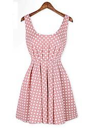 Ricci Women's Sleeveless Polka Dots Pink Dress 2738-1