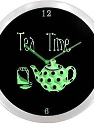 nc1001 Tea Time Teiera Negozio Neon Sign Orologio da parete a LED