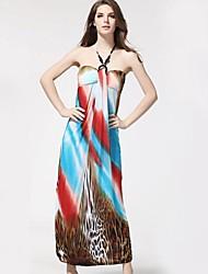 Moda feminina de impressão Bohemian Praia Vestidos Maxi (padrão de localização aleatória)