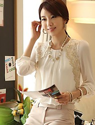 Women's Lace Embroidery White Blouse, Vintage Round Neck Long Sleeve