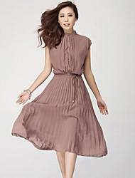 Women's Plus Size / Vintage Plus Size Dress,Solid Midi Sleeveless Brown Summer