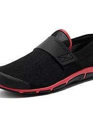 Men's Spring Summer Fall Comfort Nylon Outdoor Athletic Flat Heel Hook & Loop Grey Black and Red Brown Hiking