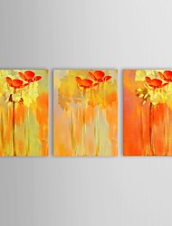 Hand Painted Oil Painting Floral Simple Design Red Flowers with Stretched Frame Set of 3
