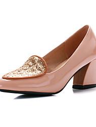 Couro de patente das mulheres Chunky bombas de salto / sapatos de salto (mais cores)