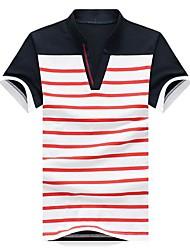 Herren T-shirt-Gestreift Freizeit Baumwollmischung Kurz-Blau / Rot