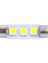 39mm 0.6W 50LM 6000K 3x5050 SMD White LED for Car Reading/License Plate/Door Lamp (DC12V, 1Pcs)