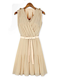 XNR Chiffon plissado Dress (amêndoa)