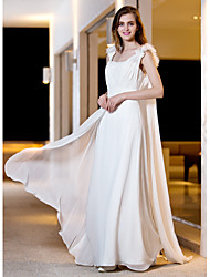 Lanting Bride® A-line / Princess Petite / Plus Sizes Wedding Dress - Classic & Timeless / Chic & Modern Floor-length Straps Georgette with