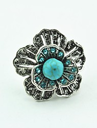 Vintage Female Flower Crystal Turquoise Adjustable Ring (Green)(1pcs)