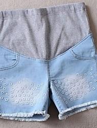 Summer Maternity Fashion Floral Denim Shorts Pregnant Women Abdominal Jeans Short Pants
