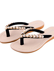 Zikafo New 2014 Summer Womens Flat Heel Antislip  Flip Flops With Pearls And Rhinestone