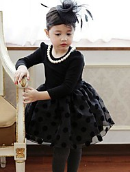 Noir Long manches princesse robes de fille Momlook