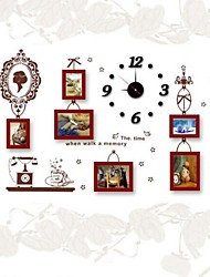 Photo Frame Set of 6  with Wall Sticker & Wall Clock 02