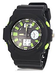 Multifuncional Flashing LED dual Zonas de tiempo de goma banda reloj de pulsera para hombre (varios colores)