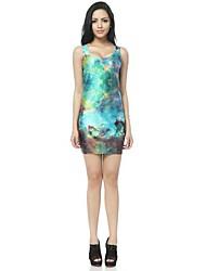 Femme O cou Galaxy Blue Light Imprimé Mini robe de gilet de réservoir
