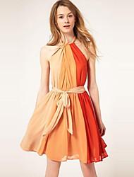 Mujeres Mige gasa del color del contraste del vestido con la correa (patrón al azar)